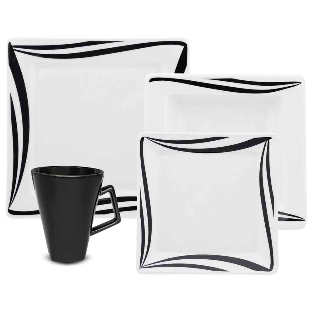 Manhattan Comfort Nara Black and Ivory 16-Piece Casual Black and Ivory Porcelain Dinnerware Set (Service for 4) was $189.99 now $129.54 (32.0% off)