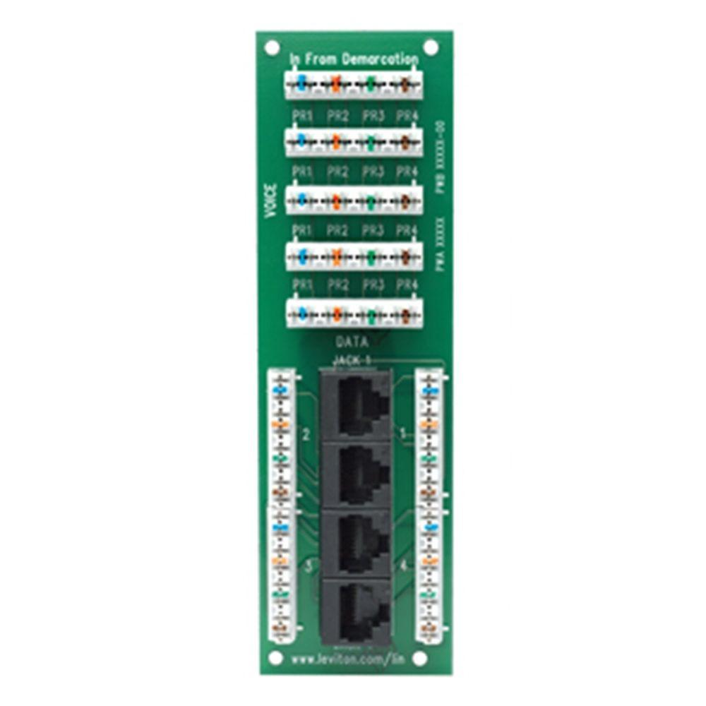 Leviton Structured Media 1x4 Combo Phone and Data Board