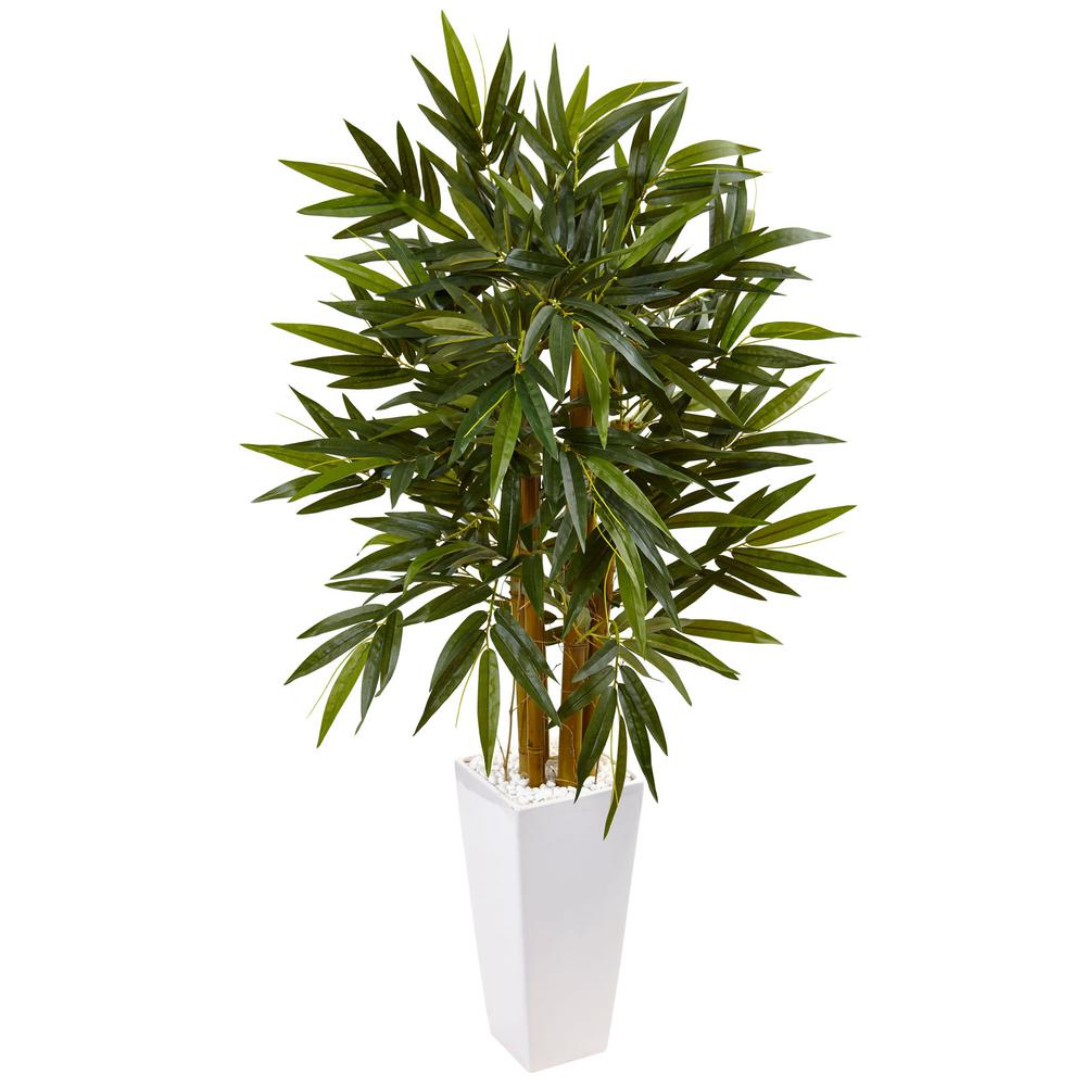 Nearly Natural Indoor Golden Cane Palm Artificial Tree In White Tower Planter 5994 The Home Depot