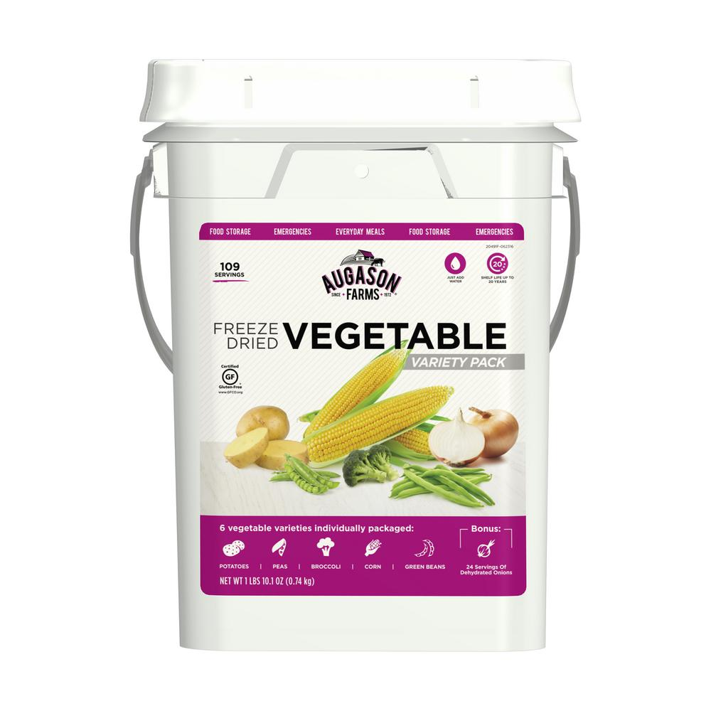 Augason Farms Freeze Dried Vegetable Variety Pail Emergency Food Supply 6 Variet
