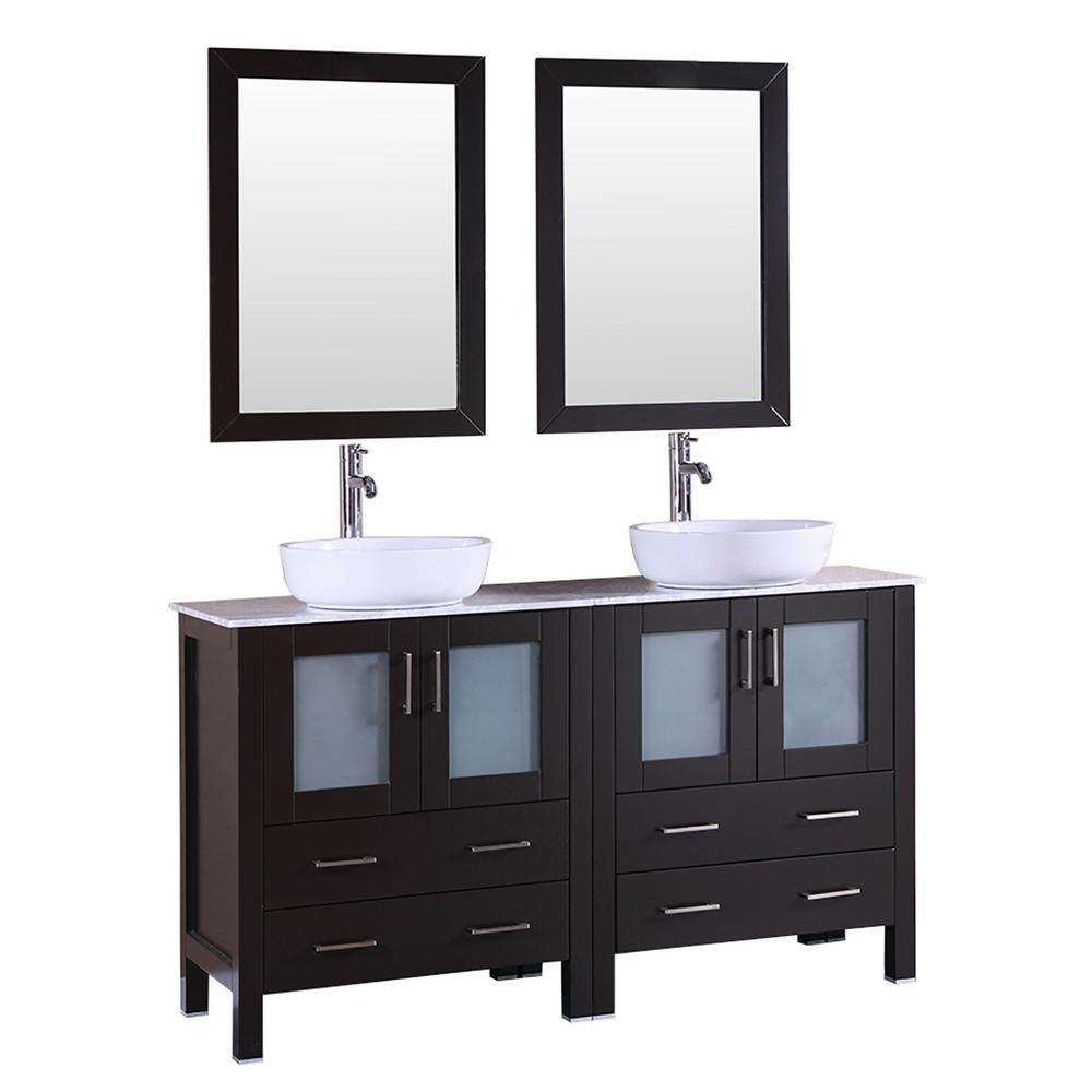 60 in. W Double Bath Vanity in Espresso with Marble Vanity