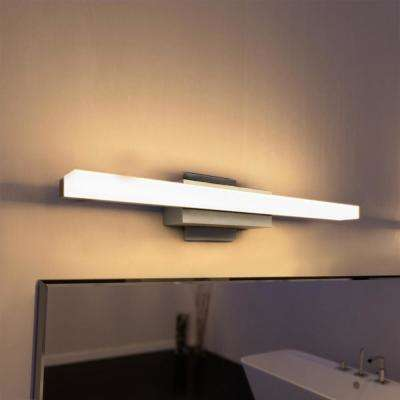 Silver Nickel Low Profile Modern Led Bathroom And Vanity Light
