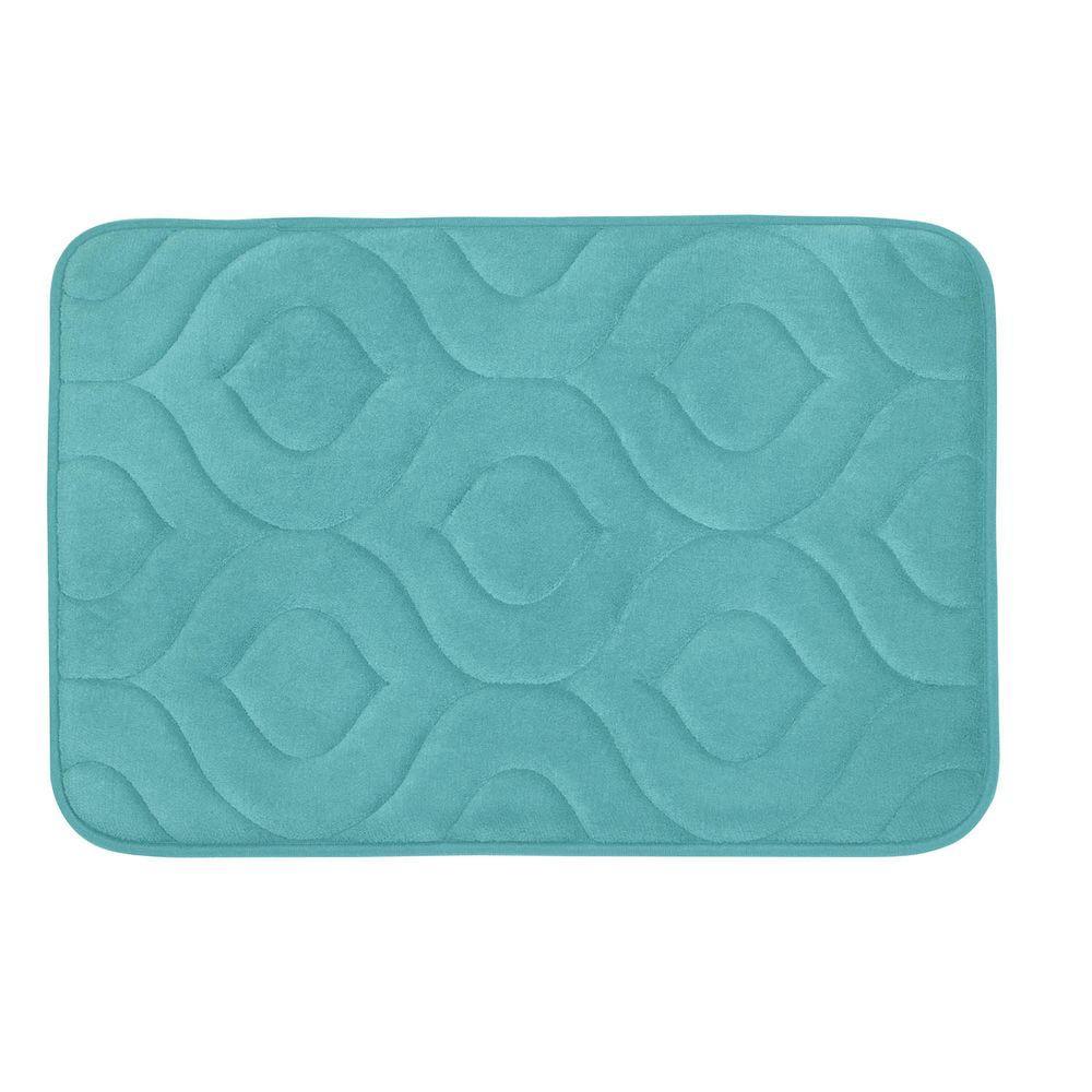 Naoli Turquoise 20 in. x 34 in. Memory Foam Bath Mat