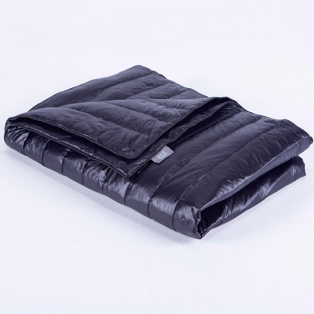 Black Nylon Waterproof White Goose Down Indoor/Outdoor Camping Blanket