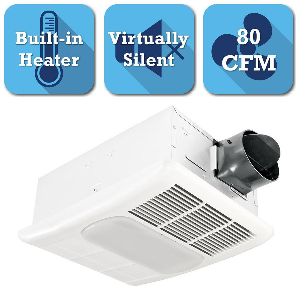 Delta Breez Radiance Series 80 CFM Ceiling Bathroom Exhaust Fan with Light  and Heater. Delta Breez Radiance Series 80 CFM Ceiling Bathroom Exhaust Fan
