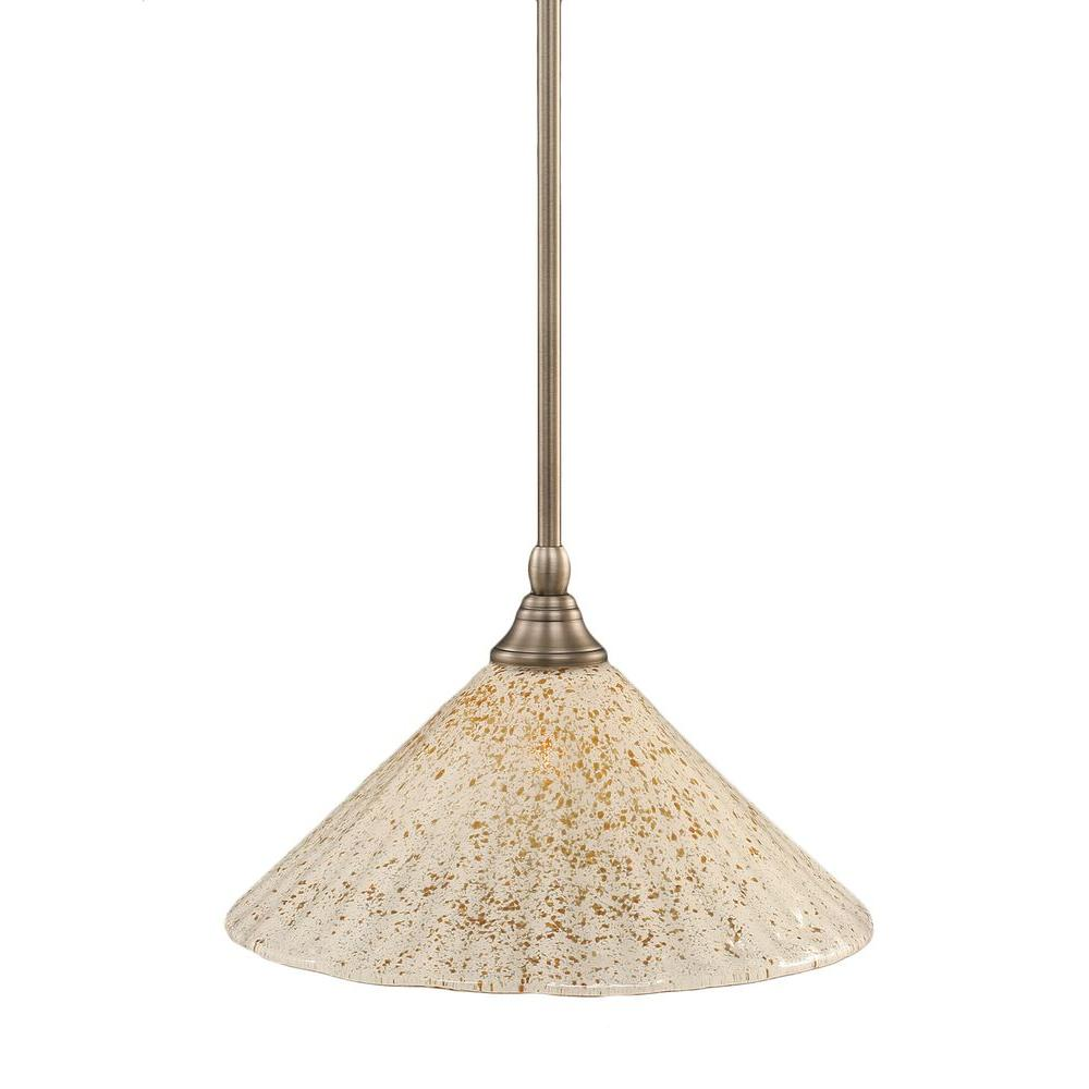 Filament Design Concord 1-Light Brushed Nickel Pendant with Gold Ice Glass