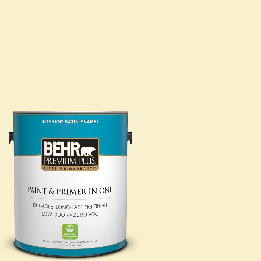 BEHR Premium Plus 1-gal. #370A-1 Moon Mist Zero VOC Satin Enamel Interior Paint