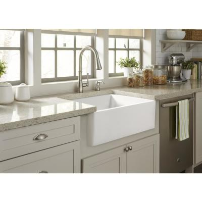 Wilcox All-in-One Farmhouse/Apron-Fireclay 24 in. Single Bowl Kitchen Sink with Pfister Faucet and Drain