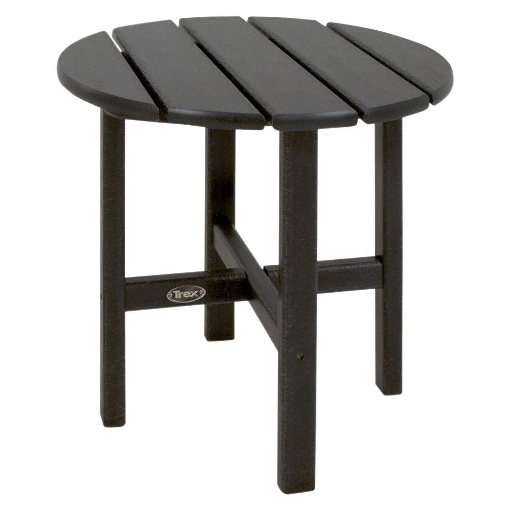 Trex Outdoor Furniture Cape Cod 18 In. Charcoal Black Round Plastic Outdoor  Patio Side Table