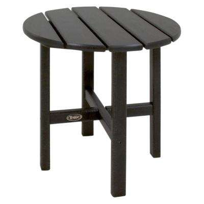 Cape Cod 18 in. Charcoal Black Round Plastic Outdoor Patio Side Table