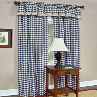 Semi-Opaque Buffalo Check Navy Poly/Cotton Window Curtain Panel 42 in. W x 84 in. L