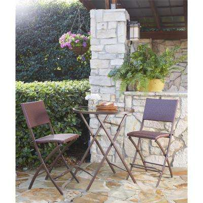 Delray Transitional 3-Piece Steel Brown & Red Woven Wicker High Top Folding Patio Bistro Set