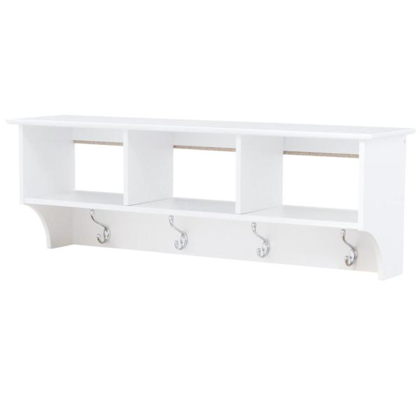 Prepac Monterey Wall-Mounted Coat Rack in White WEC-4816