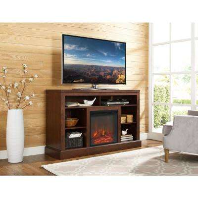 Highboy 52 in. Traditional Brown TV Console with Open Storage