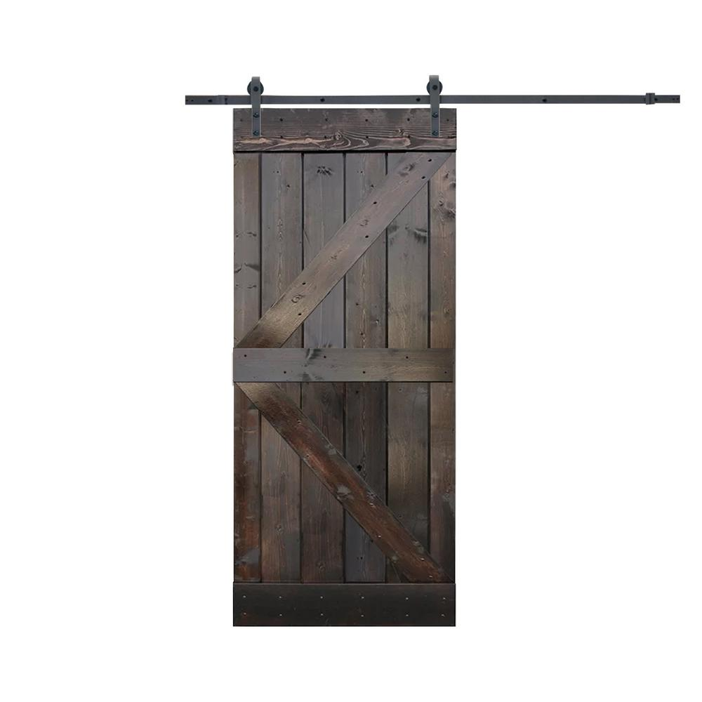 CALHOME 36 in. x 84 in. K-Style Knotty Pine Wood Sliding Barn Door with Hardware Kit, Dark Coffee was $424.0 now $289.0 (32.0% off)