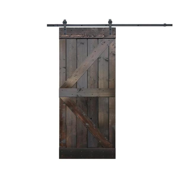Calhome 36 In X 84 In K Style Knotty Pine Wood Sliding Barn Door With Hardware Kit Sdh Swd11 Dark Door K36c The Home Depot