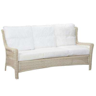 Park Meadows Off-White Wicker Outdoor Patio Sofa with Bare Cushions