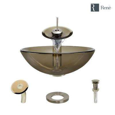 Glass Vessel Sink in Cashmere with Waterfall Faucet and Pop-Up Drain in Brushed Nickel