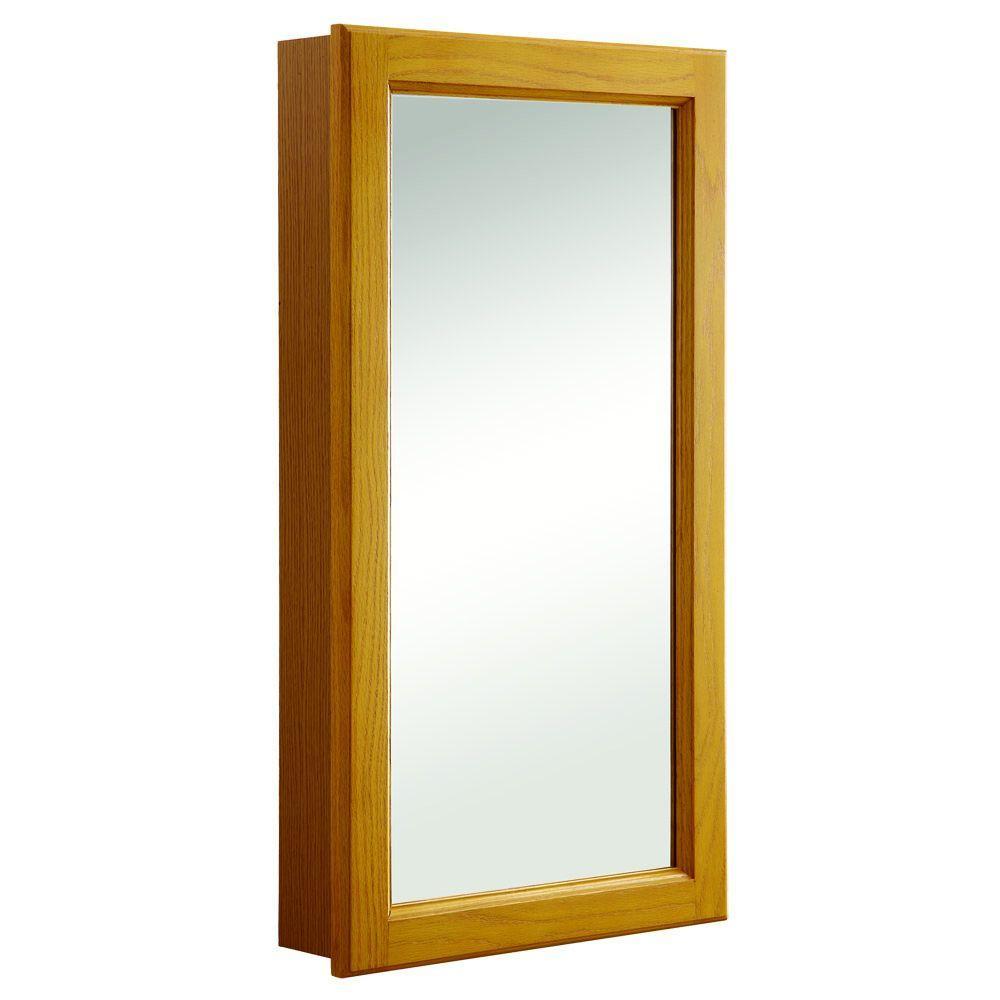 Design House Claremont 16 in. W x 30 in. H x 4-3/4 in. D Framed Surface-Mount Bathroom Medicine Cabinet in Honey Oak