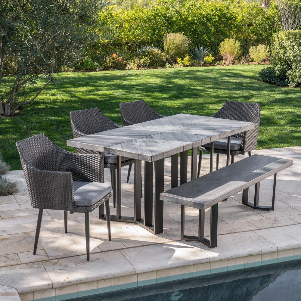 Zander Black 6-Piece Wicker Outdoor Dining Set with Grey Cushions