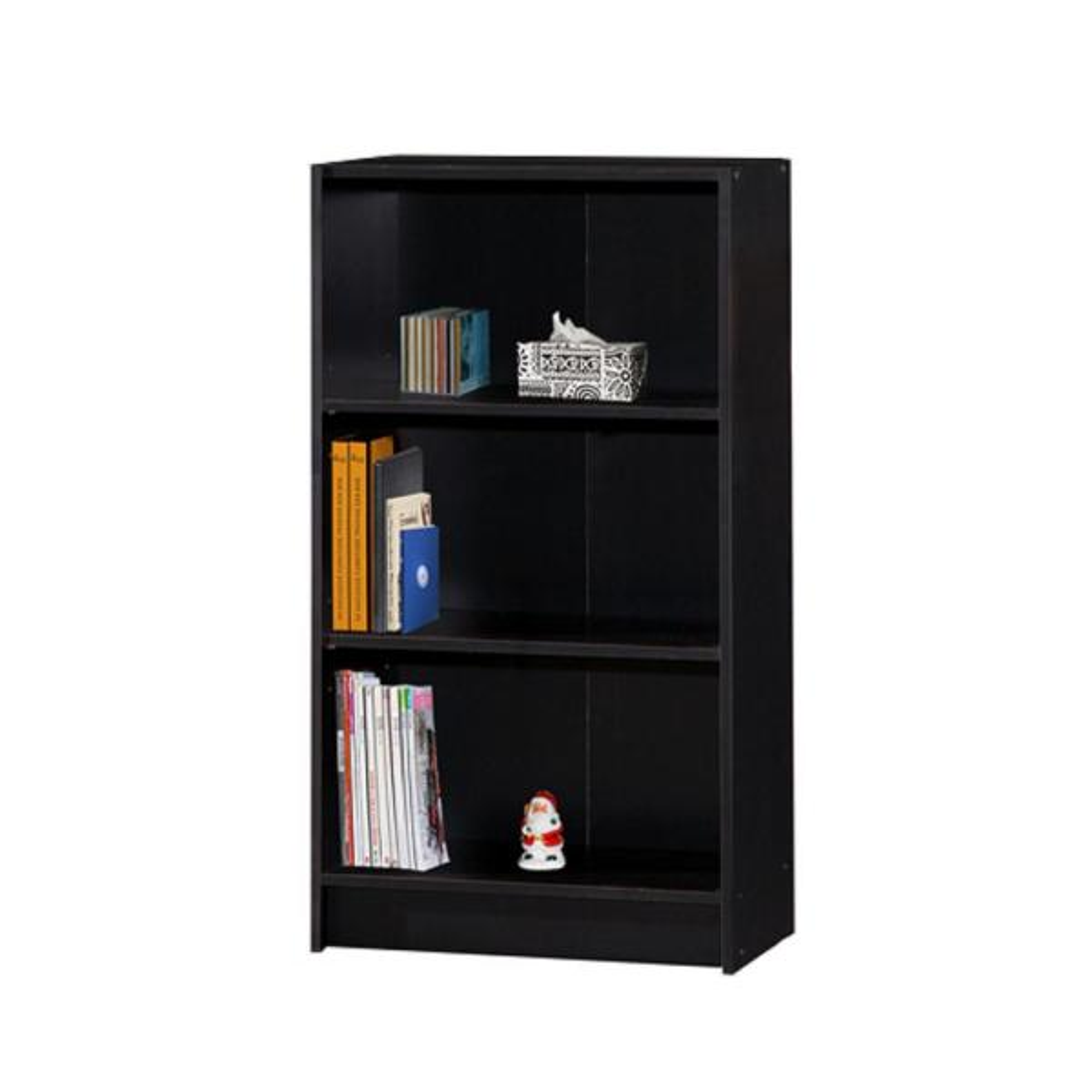 Hodedah 3-Shelf, 35 in. H Black Bookcase HID3WD BLACK