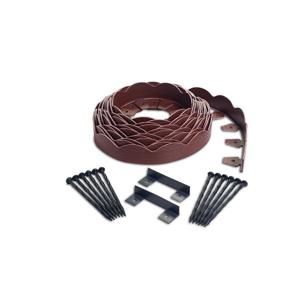 ProFlex ProFlex 40 ft. Red Scalloped Woodgrain Plastic No-Dig Edging Kit