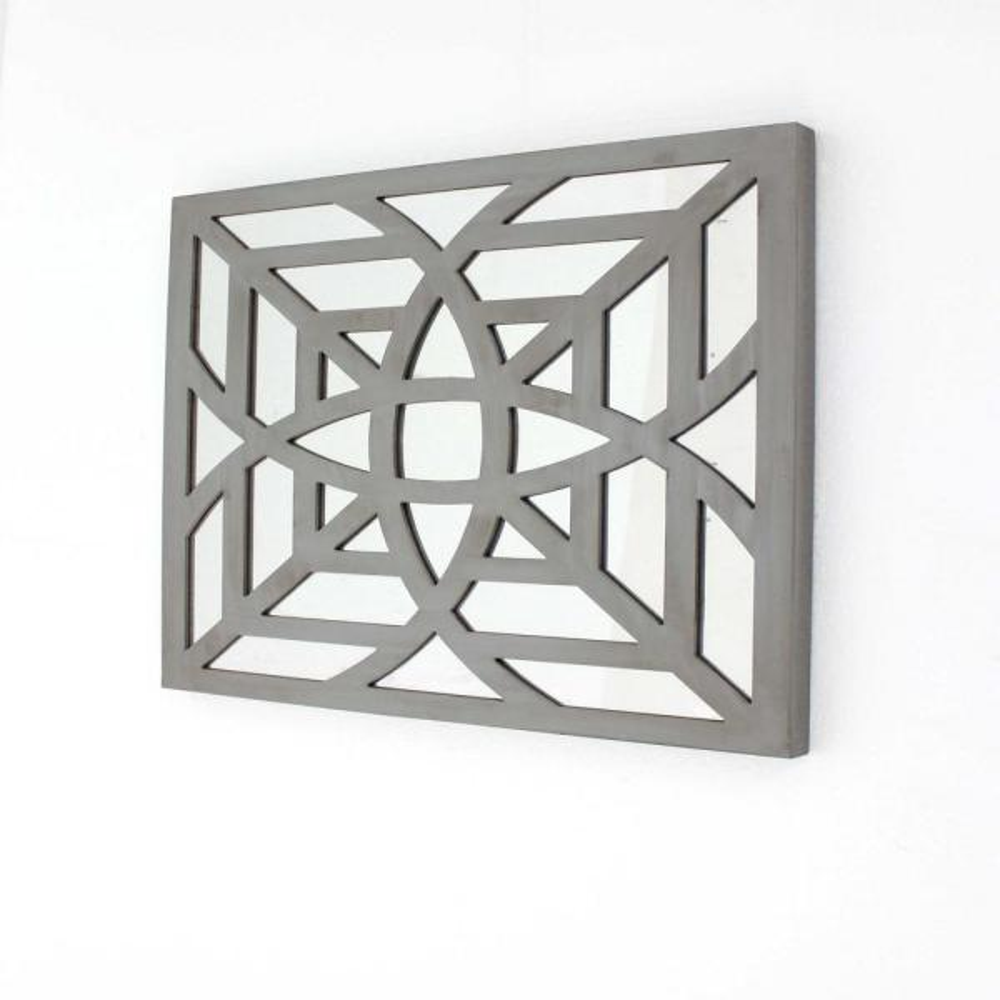 Mirrored Square Wooden Wall Decor
