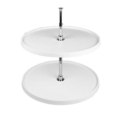 26 in. H x 20 in. W x 20 in. D White Polymer 2-Shelf Full Circle Lazy Susan Set