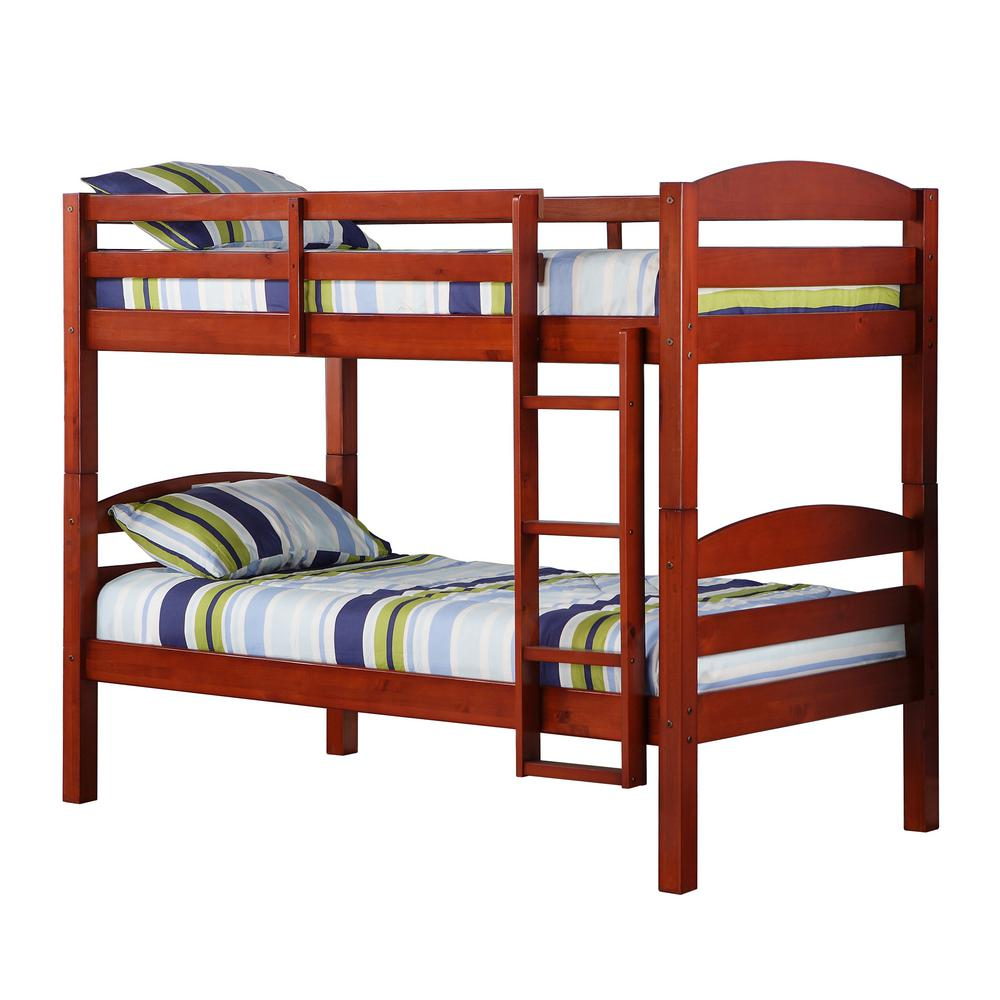Walker Edison Twin Over Twin Wood Bunk Bed Red