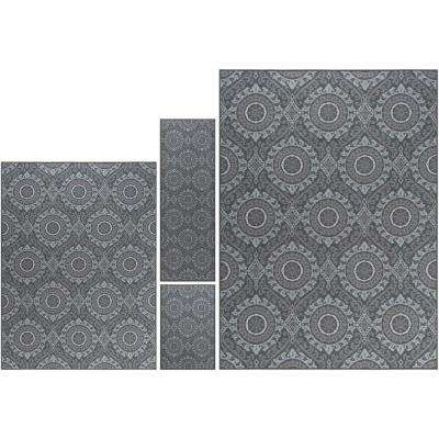 Majesty Charcoal 8 ft. x 10 ft. 4-Piece Rug Set