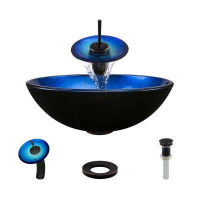 Glass Vessel Sink in Gradient Blue with Waterfall Faucet and Pop-Up Drain in Antique Bronze
