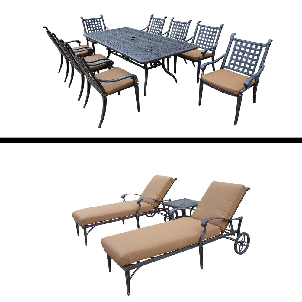 Belmont Premier Collection 12 Piece Aluminum Outdoor Dining Set With  Sunbrella Brown Cushions