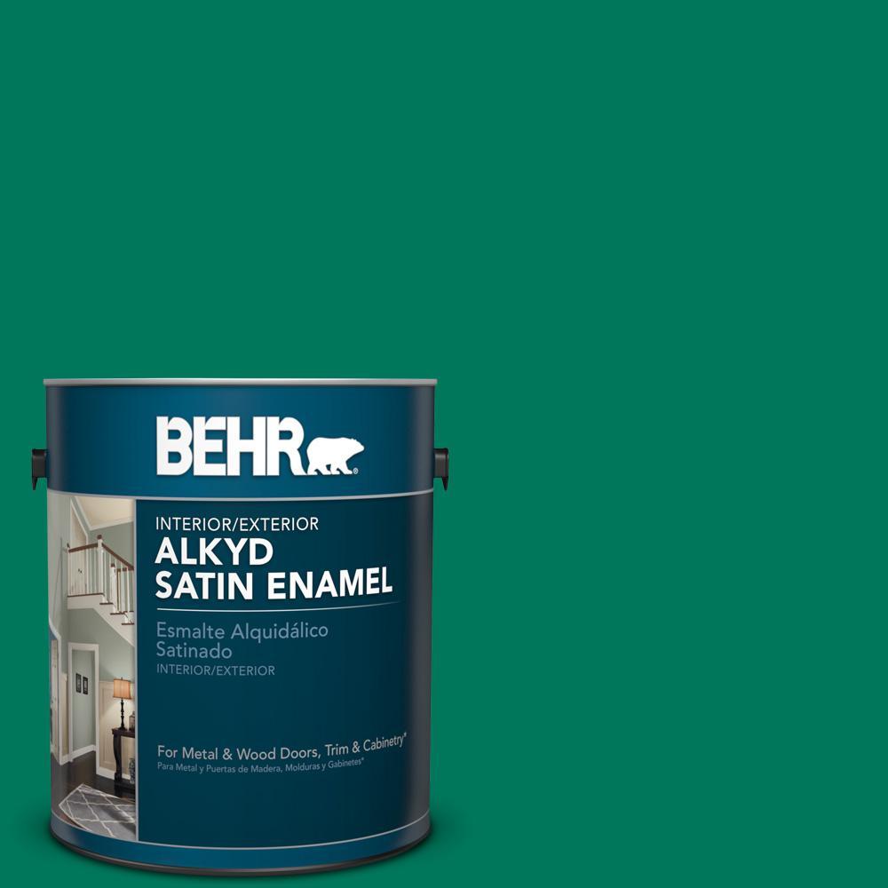 1 gal. #OSHA 2 Safety Green Satin Enamel Alkyd Interior/Exterior Paint