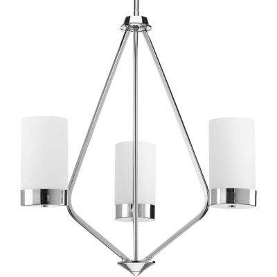 Elevate Collection 3-light Polished Chrome Chandelier with Etched Glass Shade