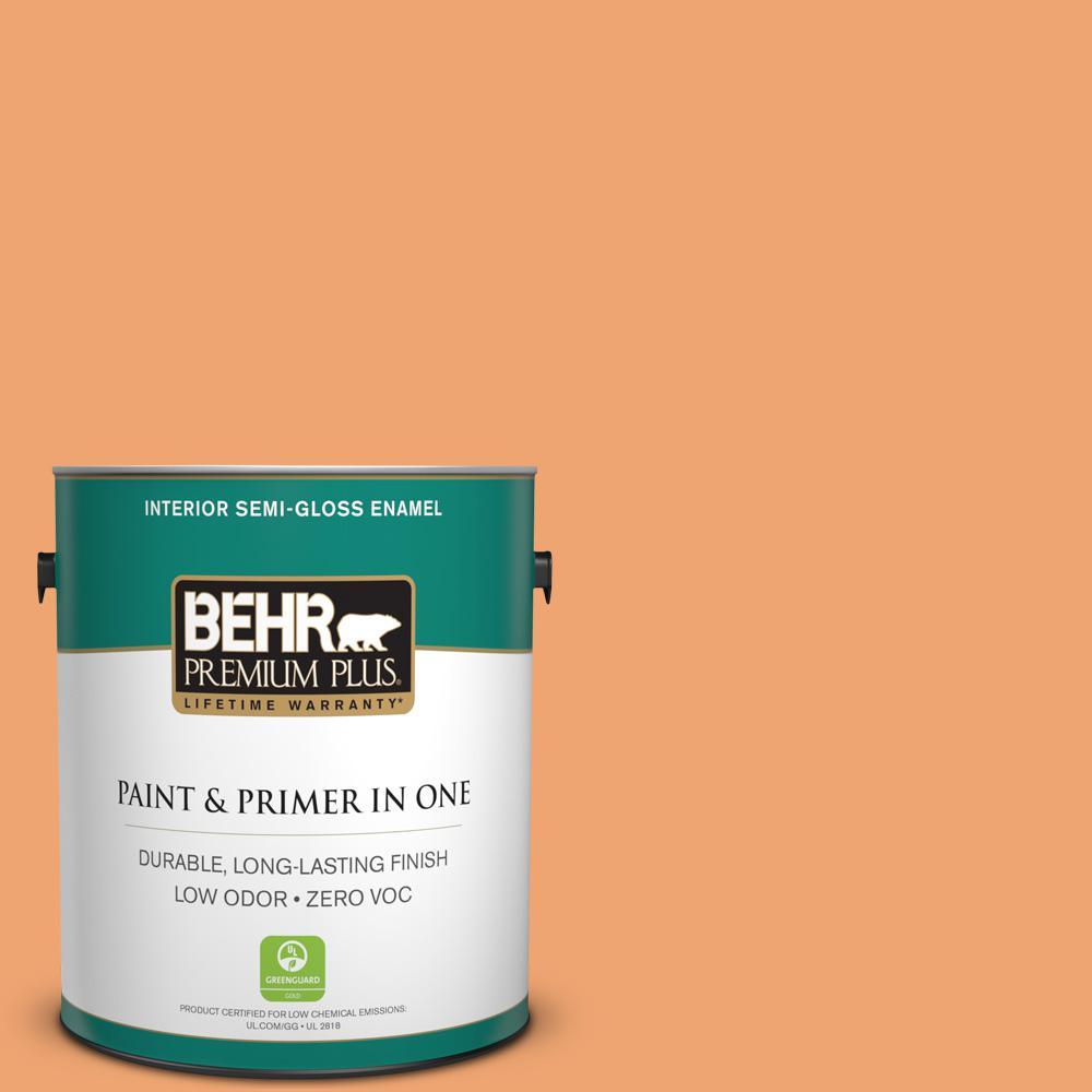 1 gal. #HDC-SP16-04 Apricot Jam Zero VOC Semi-Gloss Enamel Interior Paint