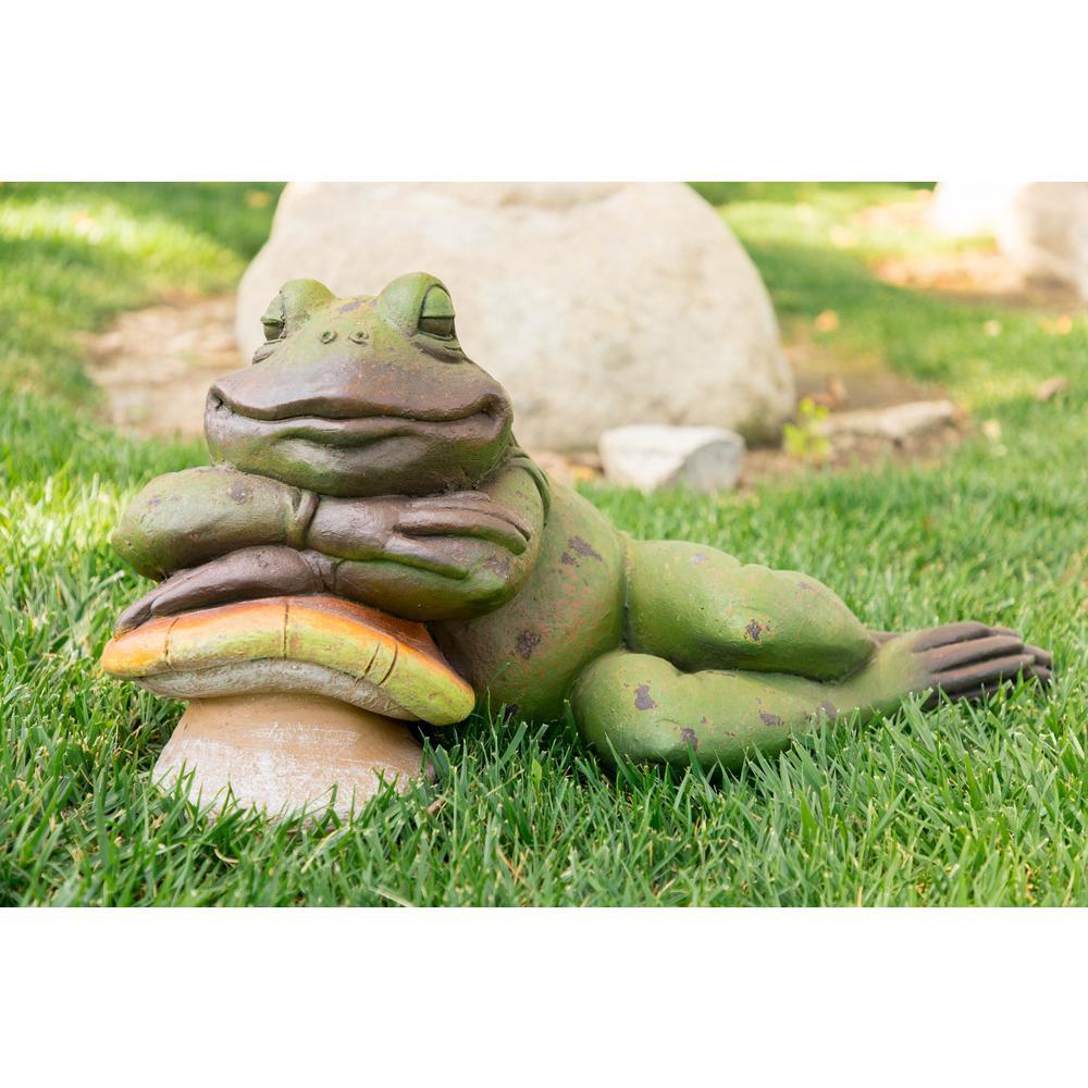 Sleeping Frog on Mushroom Statue