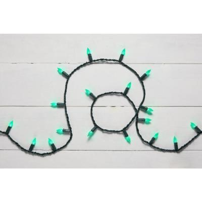 16.33 ft. 50-Light Green LED Faceted C3 Super Bright Constant-On Light String