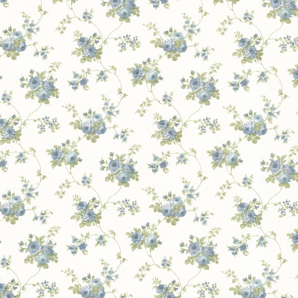 56.4 sq. ft. Drury Blue Blooming Floral Trail Wallpaper