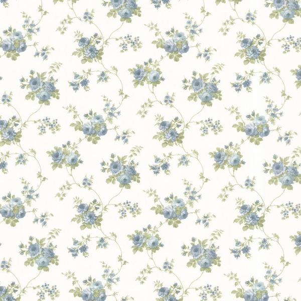 Brewster 56.4 sq. ft. Drury Blue Blooming Floral Trail Wallpaper 347-68846