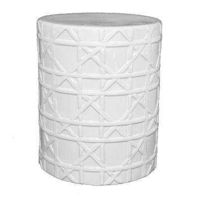 13 in. x 13 in. White Garden Stool