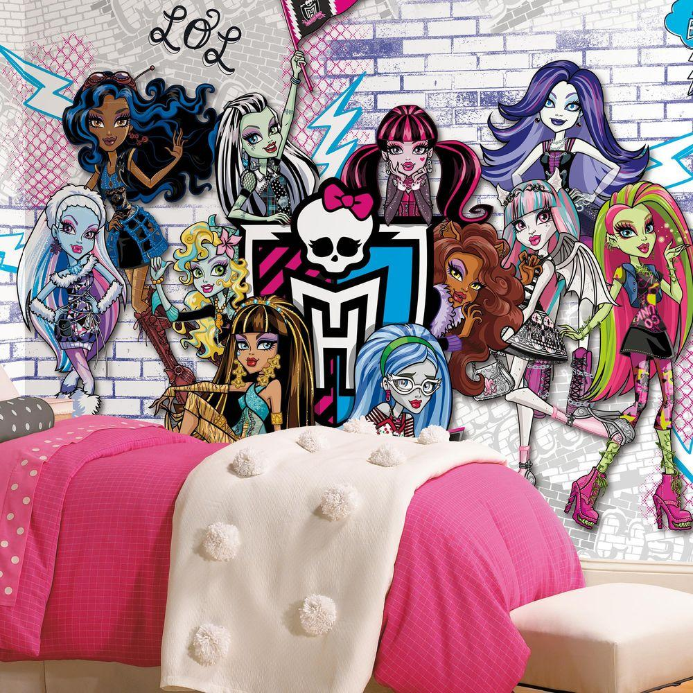 Monsters High XL Chair Rail 7 Panel Prepasted Mural JL1328M   The Home Depot. RoomMates 72 in  x 126 in  Monsters High XL Chair Rail 7 Panel