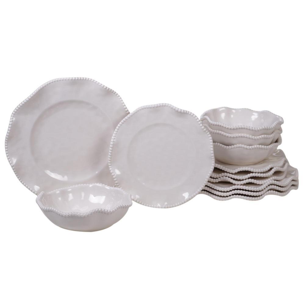 Certified International Perlette Cream 12-Piece Multi-Colored Dinnerware Set 89537