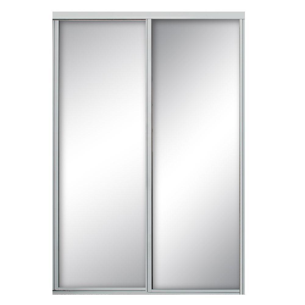 60 in. x 81 in. Concord Bright Clear Aluminum Framed Mirror Sliding Door