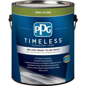 1 gal. White Semi-Gloss Exterior Ready to Use One-Coat Paint with Primer