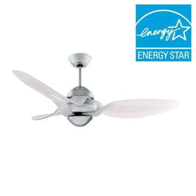 Clover 54 in. Indoor Chrome Ceiling Fan with 3 Snow White Blades