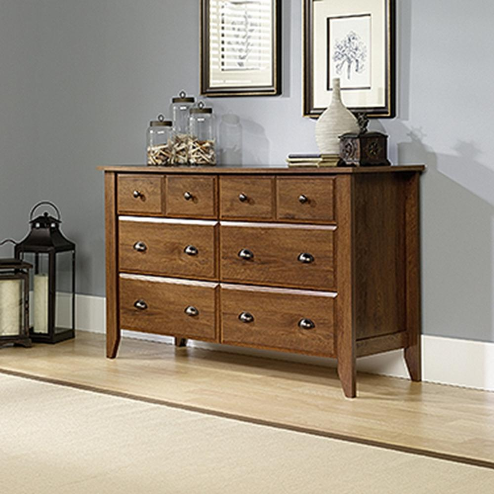 Sauder Shoal Creek 6 Drawer Oiled Oak Dresser