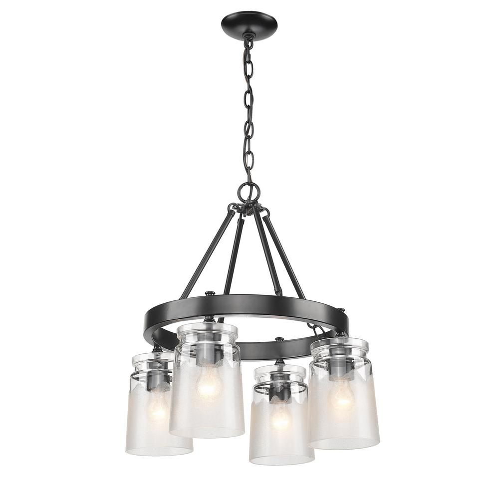 Golden Lighting Travers 4 Light Black Chandelier With Clear Frosted Artisan Glass Shade