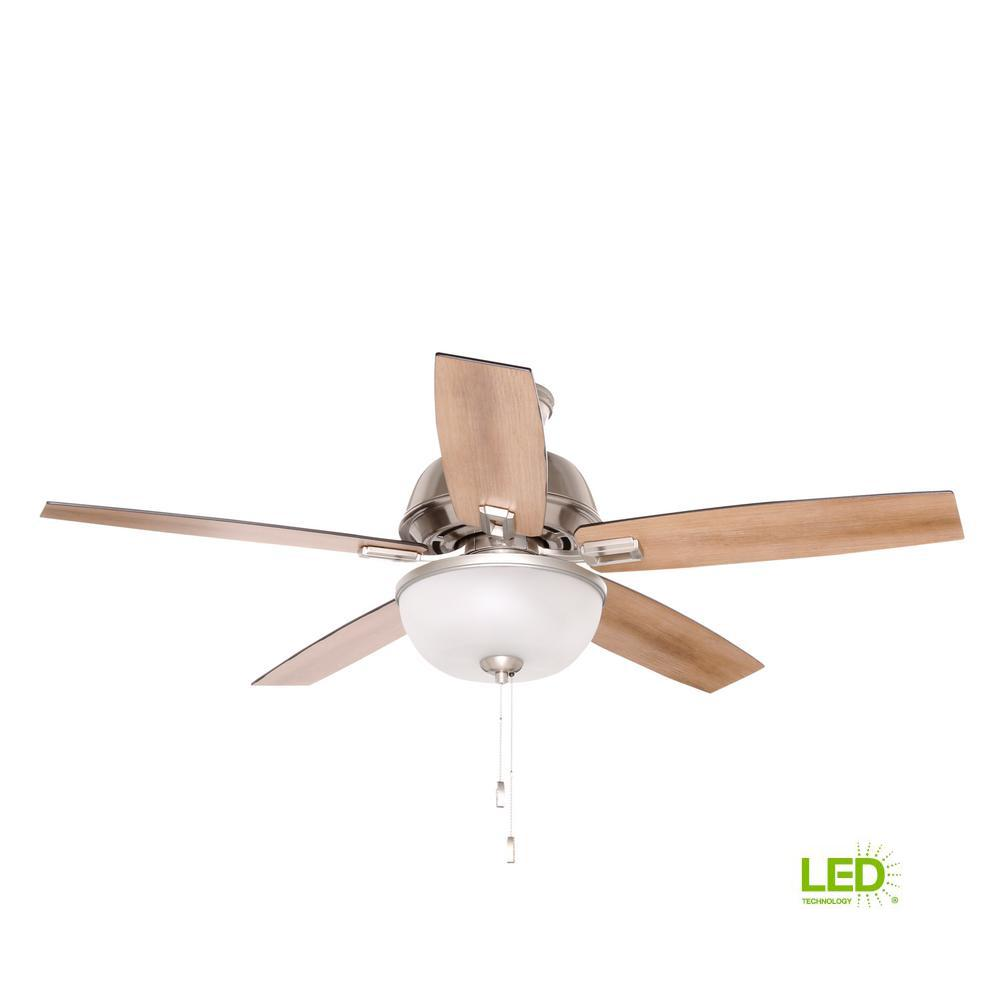 Hunter Heathrow 52 In Indoor Brushed Nickel Ceiling Fan With Light Wiring Diagram Reversing Switch Led