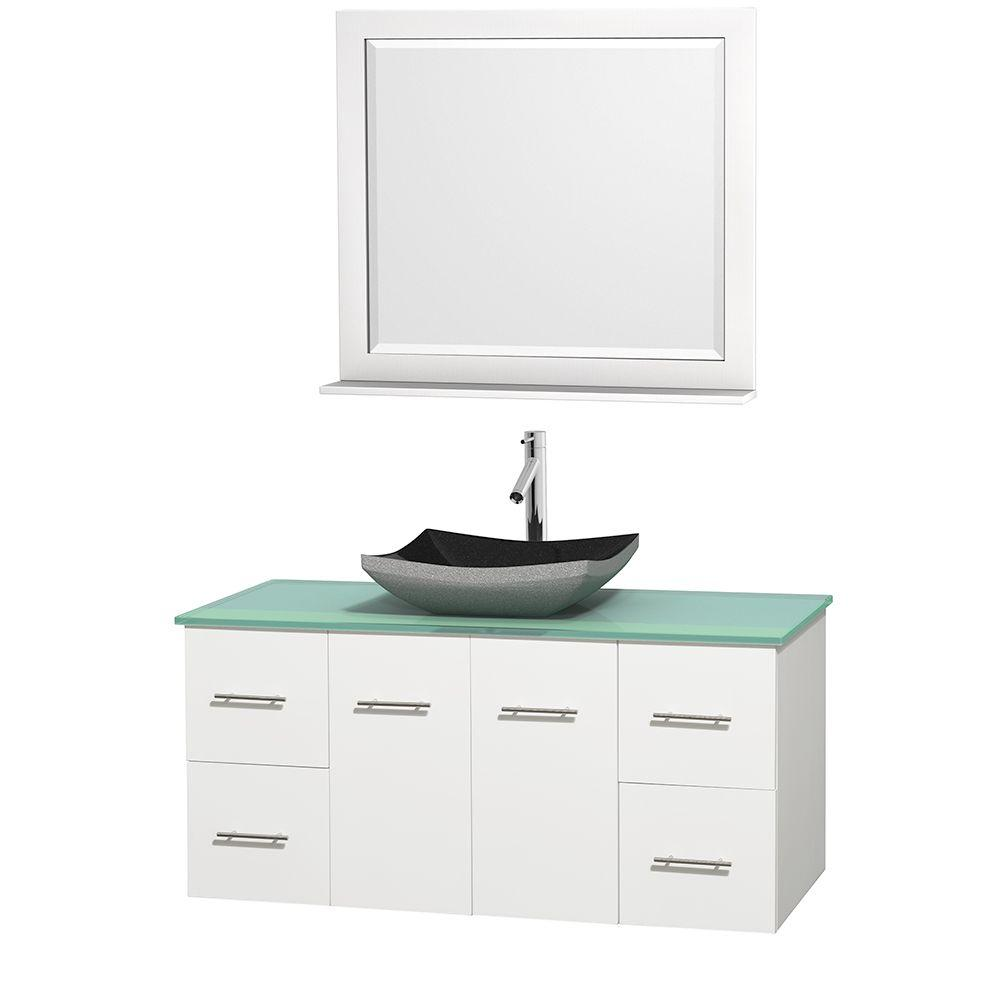 Wyndham Collection Centra 48 in. Vanity in White with Glass Vanity Top in Green, Black Granite Sink and 36 in. Mirror