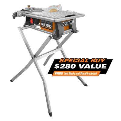 120-Volt 7 in. Table Top Wet Tile Saw with Free Stand and Bonus Blade